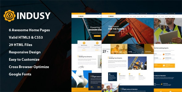 Indusy - Industrial & Factory Solutions HTML Template - Business Corporate