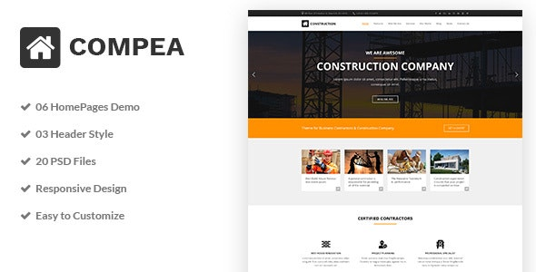 Compea - Construction & Building Business PSD Template - Business Corporate