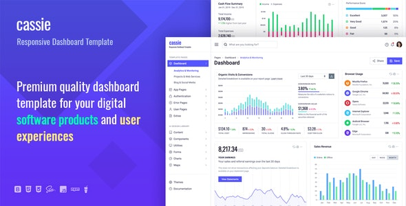 Cassie Responsive Dashboard and Admin HTML5 Template - Admin Templates Site Templates