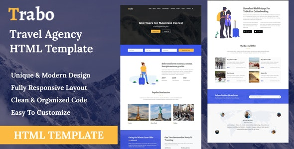 Trabo - Travel Agency HTML Template by THESOFTKING