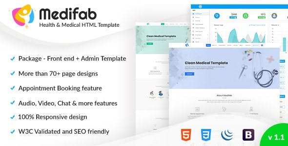 Medifab - Hospital, Clinic & Medical Appointment booking  Bootstrap4 Template with Admin Dashboard