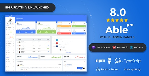 Able pro 8.0 Bootstrap 4, Angular 8 & React Redux Admin Template - Admin Templates Site Templates