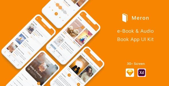 Meron - e-Book and Audio Book App UI Kit - Sketch Templates