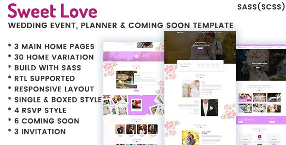 Download Lavender - Wedding Event, Planner & Coming Soon HTML Template