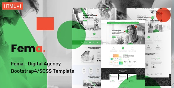 Fema - Digital Agency Bootstrap4/SCSS Template - Corporate Site Templates