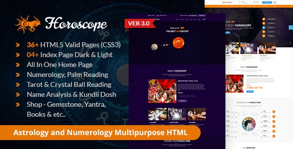 Horoscope - All in one Astrology and Numerology HTML Template - Business Corporate