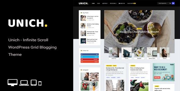 Unich - Infinite Scroll WordPress Blogging Food Recipes Theme - News / Editorial Blog / Magazine