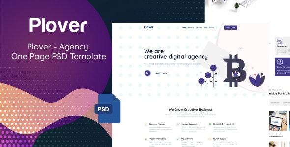 Plover - Agency One Page PSD Template - PSD Templates