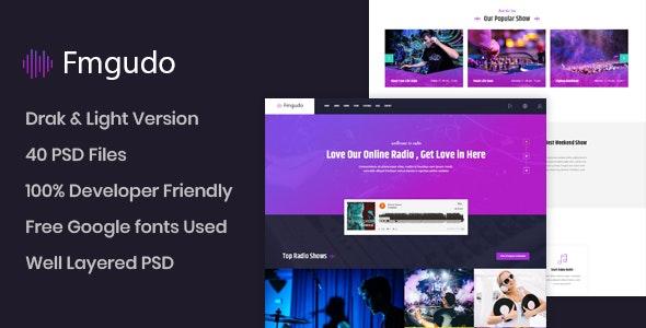 Fmgudo - Online Live Radio PSD Template - Entertainment PSD Templates
