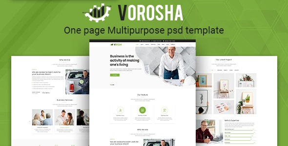 Vorosha - One Page Multipurpose PSD Template - Corporate Photoshop