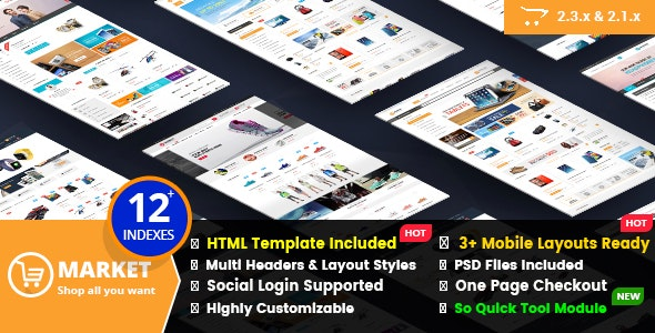 Market - Premium Responsive OpenCart Theme with Mobile-Specific Layout (12 HomePages) - Shopping OpenCart