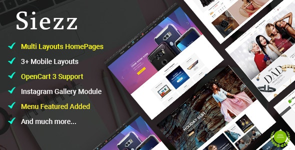 Siezz - Multi-purpose OpenCart 3 Theme ( Mobile Layouts Included) - OpenCart eCommerce