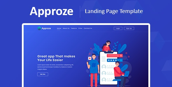 Approze – Bootstrap 4 Responsive Startup and Web App HTML Template - Technology Site Templates