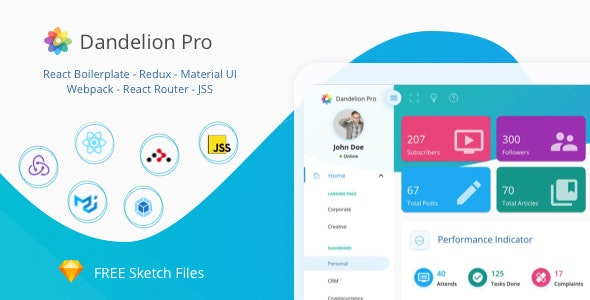 Dandelion Pro - React Admin Dashboard Template by ilhammeidi