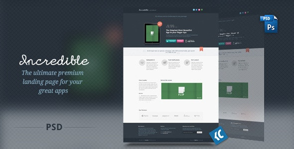 Incredible - The ultimate premium landing page - Creative Photoshop