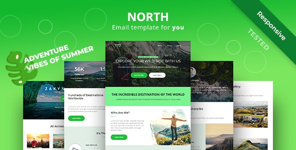 North - Adventure Responsive Email Newsletter Template - Newsletters Email Templates