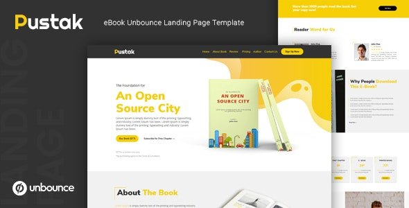 Pustak — eBook Unbounce Landing Page Template - Unbounce Landing Pages Marketing