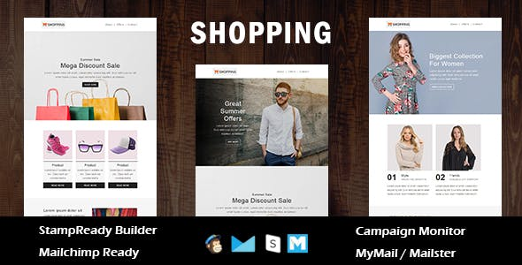 Shopping - Ecommerce Responsive Email Template with Stampready Builder Access