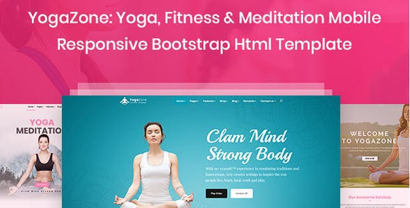 YogaZone: Yoga, Fitness & Meditation Mobile Responsive Bootstrap Html Template