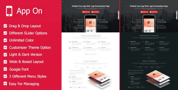 App on - Landing Pages WordPress Theme - Marketing Corporate