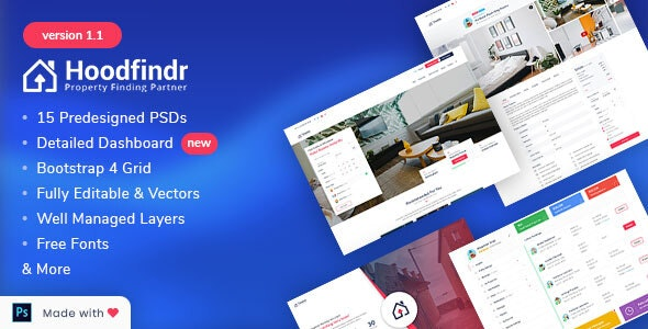 Hoodfindr - Property Booking PSD Template - Corporate PSD Templates
