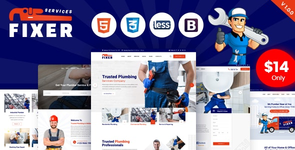 Fixer - Plumbing & Repair Services HTML Template - Business Corporate