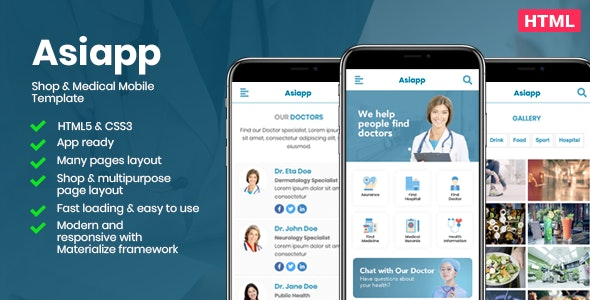 Asiapp - Shop & Medical Mobile Template - Mobile Site Templates
