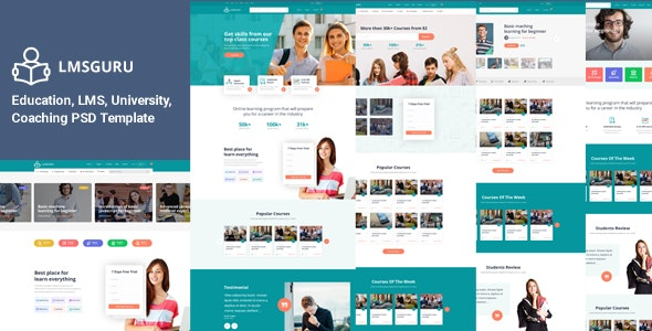 LMSGURU – LMS Education PSD Template - Photoshop UI Templates
