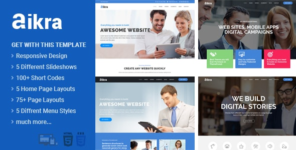 Aikra - Responsive Multipurpose Html5 Website Template - Business Corporate