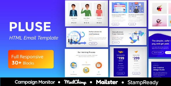 Pluse Agency - Multipurpose Responsive Email Template 30+ Modules - Mailster & Mailchimp - Newsletters Email Templates