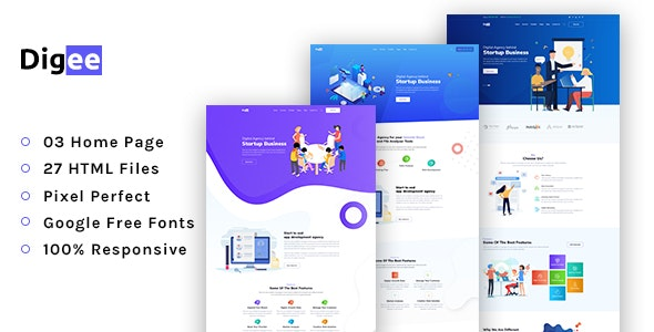 Digee - Startup & Marketing Agency HTML Template - Business Corporate
