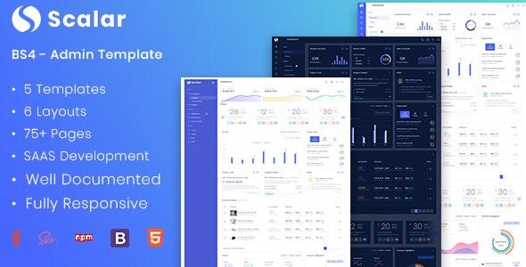 Scalar - Multipurpose Bootstrap 4 Admin Dashboard Template - Admin Templates Site Templates
