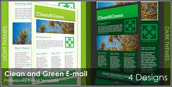 Clean and Green Email - 4 Designs - Newsletters Email Templates