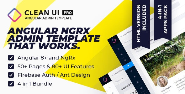 Clean UI Angular Pro — Multi Concept Admin Template by