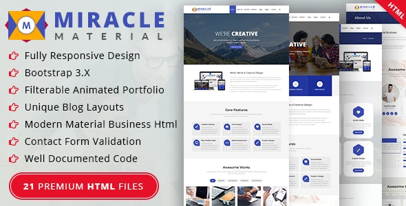 Miracle - Material Design HTML Template - Business Corporate