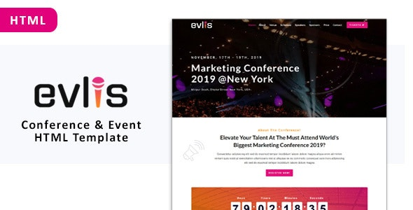 Evlis - Conference and Event HTML Template - Marketing Corporate