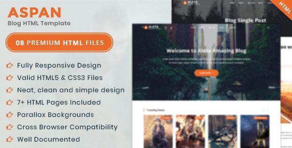 Aspan - Personal Blog HTML Template - Creative Site Templates