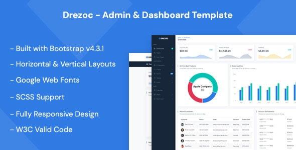 Drezoc - Admin & Dashboard Template - Admin Templates Site Templates