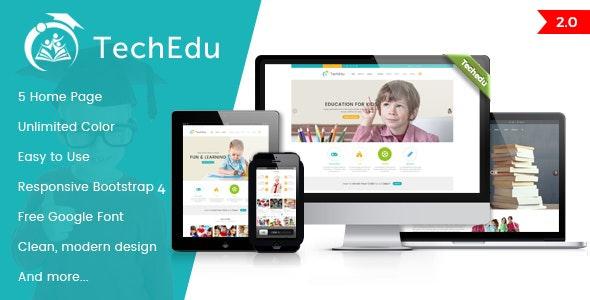 Techedu - Education Bootstrap Template - Nonprofit Site Templates