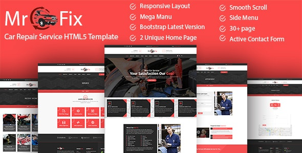 Mr Fix - Car Repair Service HTML5 Template - Business Corporate