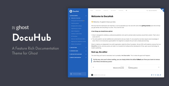 DocuHub - A Modern Documentation Theme for Ghost - Ghost Themes Blogging