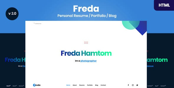 Freda - Personal Resume / Portfolio / Blog / HTML Template - Virtual Business Card Personal