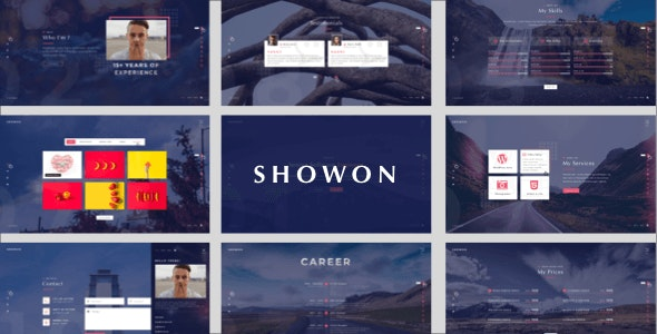 Showon - Full Screen Personal Portfolio Sketch Template - Sketch Templates
