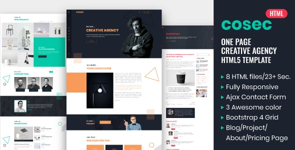 Cosec - One Page Creative Agency HTML Template - Creative Site Templates