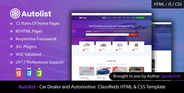 Autolist Car Dealer And Classifieds Html Template By