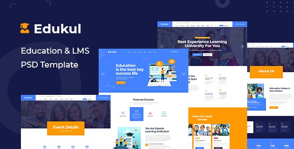 Edukul - Online Education Learning & LMS PSD Template - Corporate Photoshop