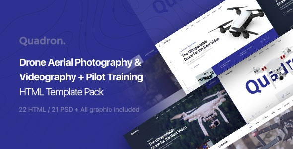Quadron | Drone Aerial Photography & Videography + Pilot Training HTML Template Pack - Technology Site Templates
