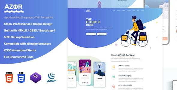 Azor - App Landing HTML Template - Technology Site Templates