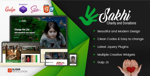 Sakhi | Charity and Donations Mulitpurpose HTML5  Template - Charity Nonprofit