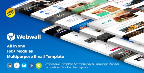 Webwall -160+ Modules Newsletter Template + StampReady & CampaignMonitor compatible files - Newsletters Email Templates